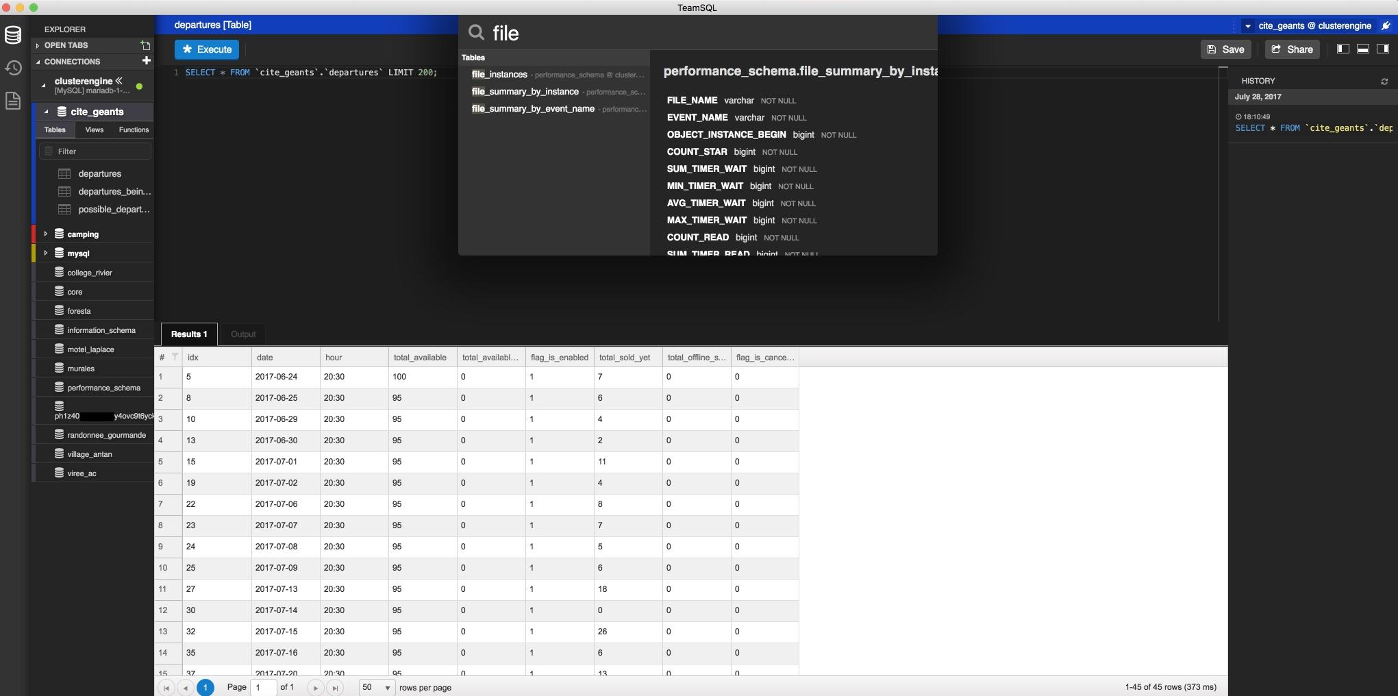 Tools for Database Management  TeamSQL  - ClusterEngine me